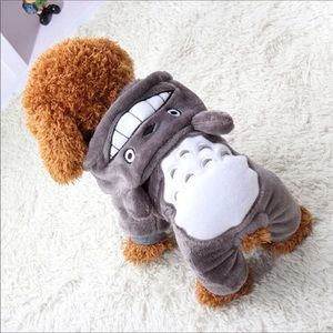 Other - Pet- Adorable Gray Hooded One Piece Fleece